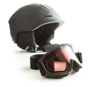 Ski glasses and helmet.