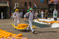 Alkmaar, Netherlands - April 28, 2017: Cheese carriers at traditional cheese market