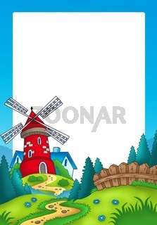 Frame with landscape and red mill - color illustration.