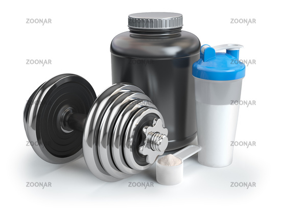 Whey protein powder  in scoop with shaker and dumbbell. Bodybuilder nutrition concept.
