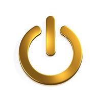 Gold Power Button Computer. 3D Render Illustration