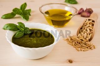 Closeup of pesto genovese sauce