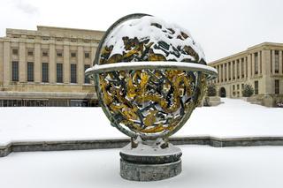 Himmelskugel Woodrow Wilson Memorial Sphere, Völkerbundpalast, Vereinte Nationen, Genf, Schweiz