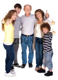 Stylish thumbs-up family