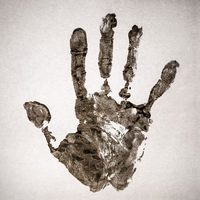 Real handprint on real paper