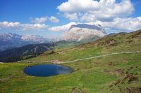 Lake, Seiser Alm Alpe di Siusi , Southern Tyrol, Italy