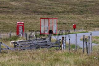 Public phone and bus shelter, Unst, Shetland Islands, Scotland