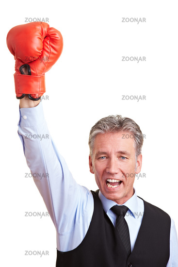 Manager mit Boxhandschuh