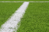 Football box area line obliquely, out of focus