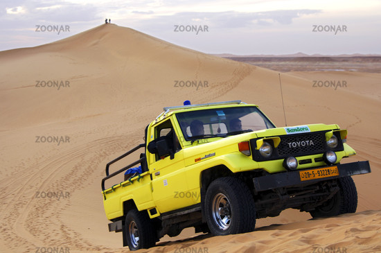 Dune bashing in the sand dunes of the Sahara