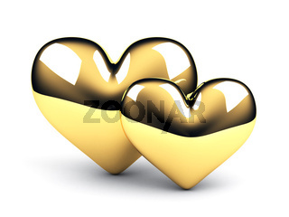 two gold hearts on the white background