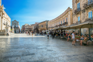 Panoramic view for a large print in a warm sunset light over Piazza del Duomo in Syracuse