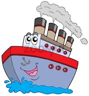 Cartoon boat on white background - isolated illustration.
