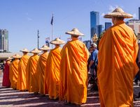 Buddhist monks parade in Melbourne