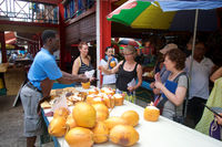 Fresh Coconut milk for tourists at Seychelles