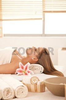 Young woman prepared for beauty treatment