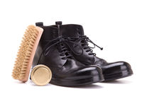 Cleaning and care of shoes on a white background.