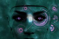 Dark female robot face