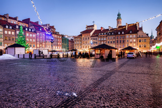 Evening at Old Town Market Square in Warsaw