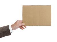 Hand with cardboard