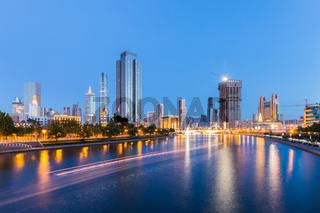 tianjin cityscape of night scene