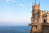 view of Swallow Nest Castle in Crimea in evening