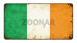 Vintage metal sign on a white background - Flag of Ireland