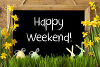 Narcissus, Easter Egg, Bunny, Text Happy Weekend