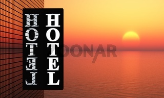 3D - Sunset Hotel Sign