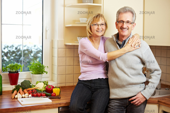 Elderly couple in kitchen