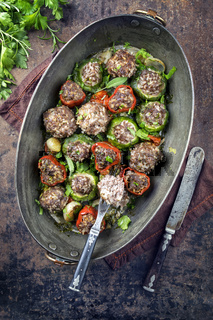 Rice Meatballs with Vegetable in Copper Pot