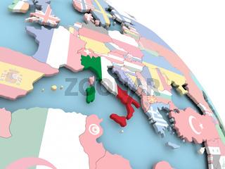 Flag of Italy on globe