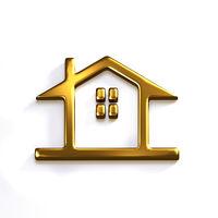 Gold House Realtor Prize. 3D Render Graphic Illustration