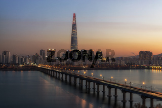 Lotte tower at sunset