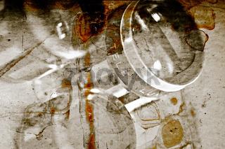Drei Objektive mit verschmolzener Film Textur