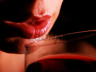 red lips with redwine