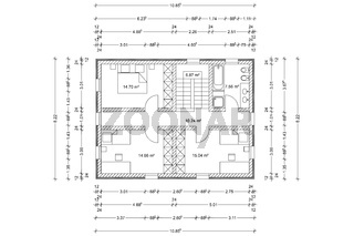 Bauplan Grundriss von Haus eines Architekten