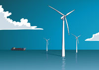 Wind energy, offshore, illustration