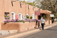 Adobe Building on Canyon Road in Santa Fe, New Mexico.