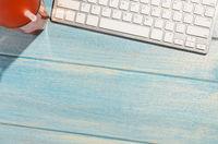keyboard on beach table