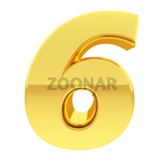 Gold number 6 with gradient reflections isolated on white. High resolution 3D image