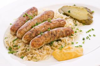 German grilled sausage with sauerkraut