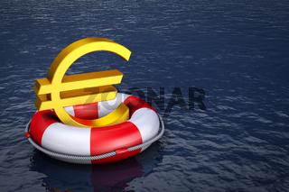 euro on  lifebuoy
