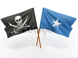 Flag of Somali and Holly Roger on white isolated background. 3d