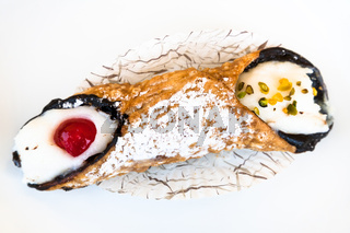 above view of typical sicilian pastry Cannol