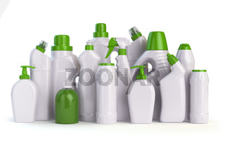 Natural green detergent bottles or containers. Cleaning supplies isolated on white background
