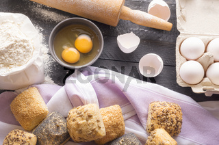 Bread ingredients and homemade buns