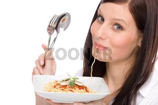 Italian food - portrait woman eat spaghetti sauce