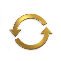 Gold Recycling Circular Arrows. Gold. 3D Render Illustration