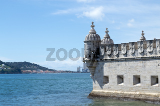 Belem tower in the bank of the Targus River (Belem, Portugal)